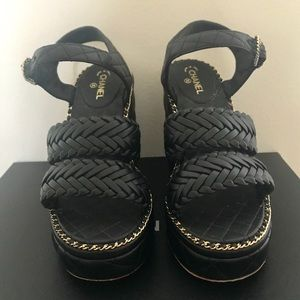 Chanel Black/Gold Quilted Leather Wedges